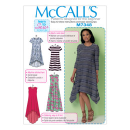 McCall's Misses' Straight, Handkerchief, or High-Low Hem Dresses M7348 - Sewing Pattern