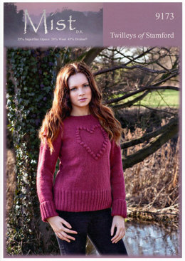 Ladies Heart Motif Sweater in Twilleys Mist DK