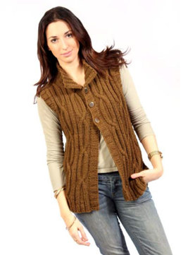 Open Cables Vest in Caledon Hills Chunky Wool