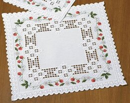 Permin Wild Strawberries Hardanger Table Mat Kit - 40 x 40 cm
