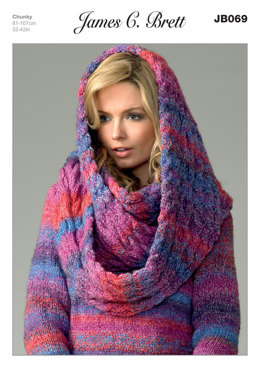 Ladies' Sweater and Snood in James C. Brett Marble Chunky - JB069
