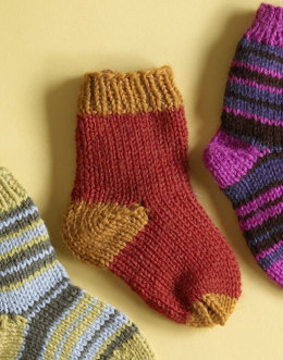 Knit Child's Two Color Socks in Lion Brand Wool-Ease - 70295A