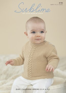 Baby/Boy's Sweater in Sublime Baby Cashmere Merino Silk 4 Ply - 6118 - Leaflet