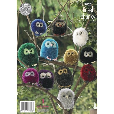 Owl - Large, Medium & Small in King Cole Tinsel Chunky, Dollymix, Merino Blend Double Knitting - 9022 - Downloadable PDF