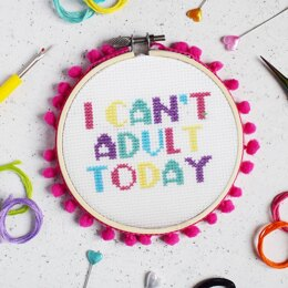 The Make Arcade Midi Cross Stitch - I Can't Adult Today - 4in