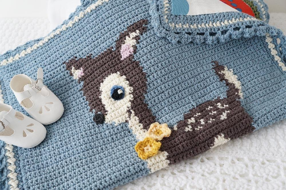 Hello Deer Baby Blanket Crochet Pattern By Little Doolally Crochet