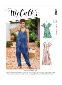McCall's CarmenMcCalls - Misses' Very Loose-fitting V-neck Dresses & Jumpsuit M8165 - Sewing Pattern