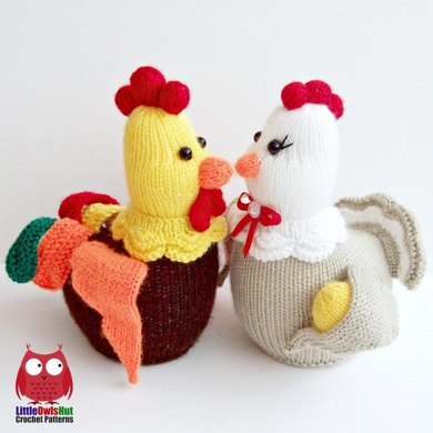 Hen And Rooster Decor Toy Knitting Pattern By Littleowlshut
