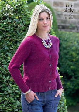 Sweater & Cardigan in King Cole 4 Ply - 3416