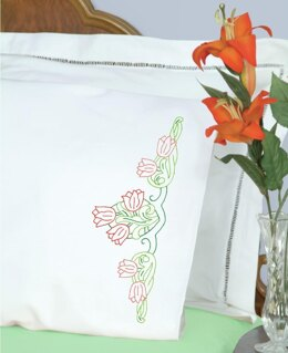 Jack Dempsey Stamped Pillowcases W White Perle Edge 2Pkg - Tulips - Multi