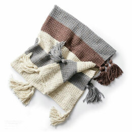 Tassel Down Blanket in Caron Simply Soft Tweeds - Downloadable PDF
