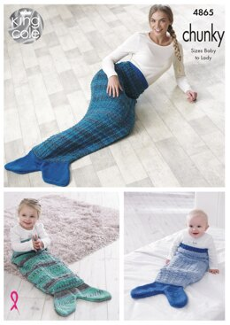Mermaid Blankets in King Cole Chunky - 4865 - Downloadable PDF