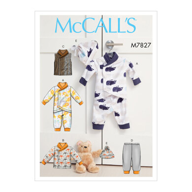 McCall's Infants Bunting, Jacket, Vest, Pants and Hat M7827 - Paper Pattern, Size NB-S-M-L-XL