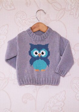 Intarsia - Little Owl Chart - Childrens Sweater