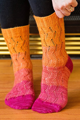 Taffy Toes Socks in SweetGeorgia Party of Five Gradient Mini-Skein Sets
