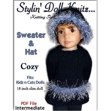 "Sweater and Hat Pattern,  fits Kidz n Cats Dolls. 18"" slim doll"