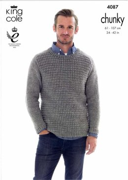 Sweater and Hoodie in King Cole Big Value Chunky  - 4087