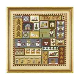 Historical Sampler Company Christmas Patchwork Cross Stitch Kit - 16ct Aida - 26cm x 26cm