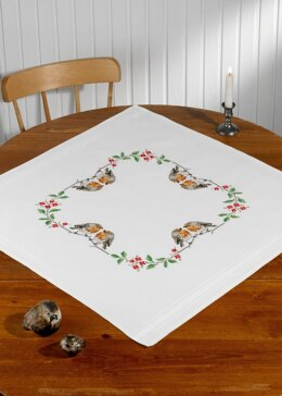Permin Christmas Robins Table Cloth Cross Stitch Kit - 80cm x 80cm