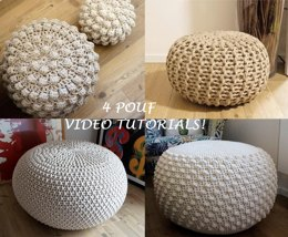 VIDEO TUTORIAL 4 Knitted & Crochet Pouf Floor cushion Patterns, Crochet Pattern, Knit Pattern