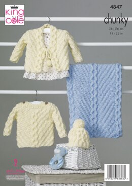 Sweater, Cardigan, Hat and Blanket in King Cole Chunky - 4847