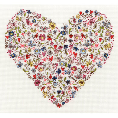 Bothy Threads Love Heart Cross Stitch Kit - 26cm x 24cm