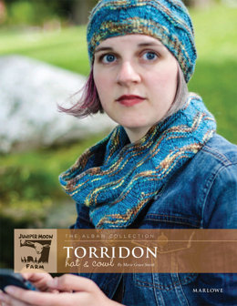 Torridon Hat & Cowl in Juniper Moon Marlowe Jeweltones & Marlowe Dappled - Downloadable PDF