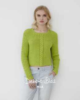 """Moss Stitch Rib Jumper"" - Jumper Knitting Pattern For Women in Debbie Bliss Mia"