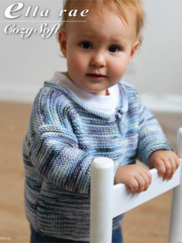 Boys Garter Stitch Sweater in Ella Rae Cozy Soft Print - ER5-02