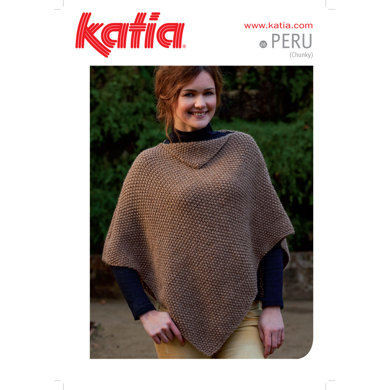 Ladies Moss Stitch Poncho in Katia Peru - 26