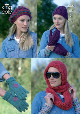 Ladies Hats, Mittens, Gloves and Snood in King Cole Merino Blend DK & Baby Alpaca DK - 3300
