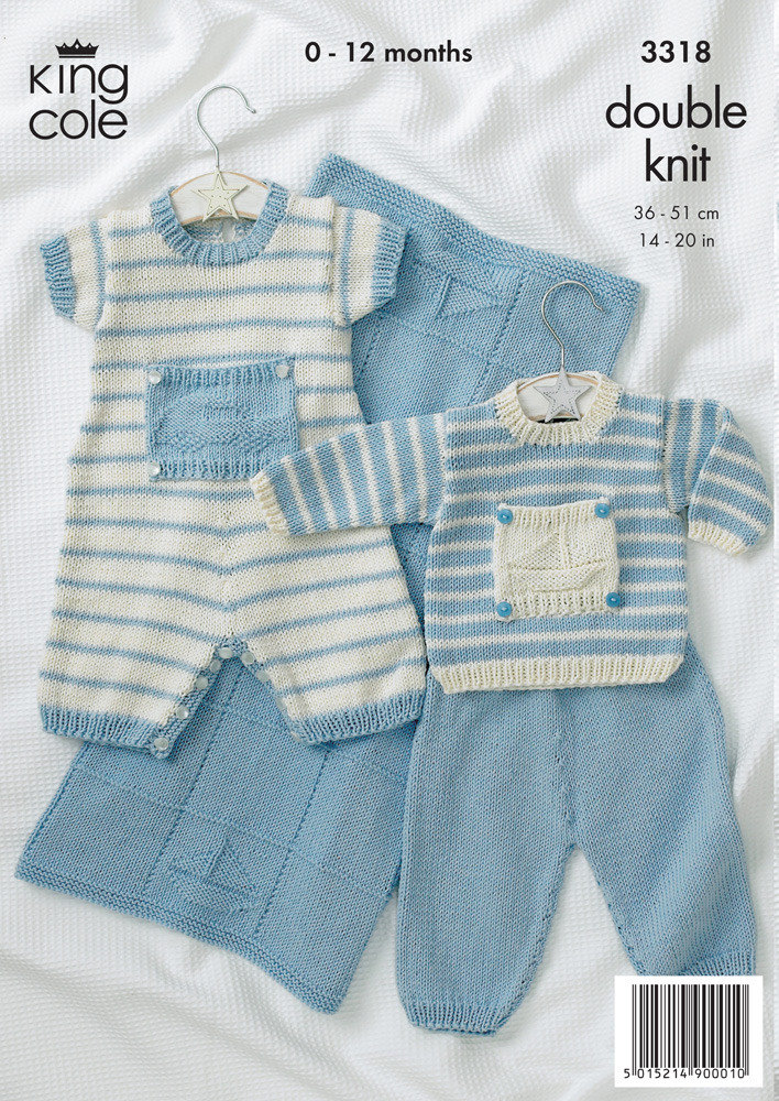 Baby Sweater, Pants, Romper, Blanket in King Cole Bamboo Cotton DK ...