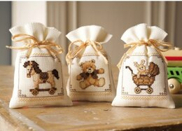 Vervaco Toys Pot-pourri Bag, Pack of 3 Cross Stitch Kit - Multi