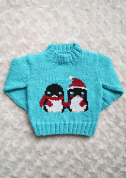 Intarsia Lovely Penguins Chart Childrens Sweater
