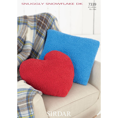 Knitting Pattern Heart Shaped Cushion : Square and Heart Shaped Cushions in Sirdar Snuggly Snowflake DK - 7339 - Down...