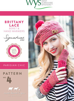 Brittany Lace Beret and Hand Warmers in West Yorkshire Spinners Signature 4 Ply - Leaflet