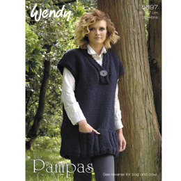 V Neck Tunic, Cowl & Bag in Wendy Pampas Mega Chunky - 5697