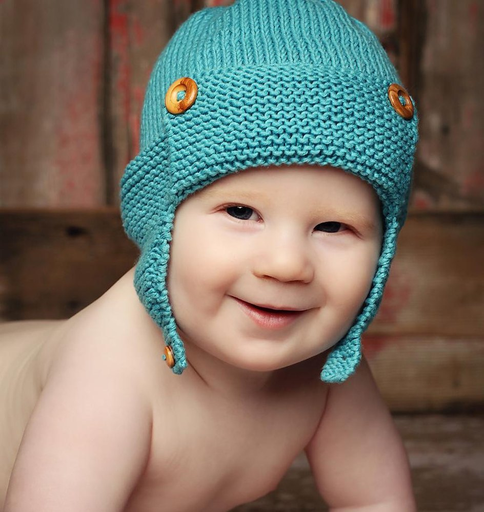 Wright-Flyer Baby Aviator Hat Knitting pattern by Julie Taylor  3a2bf2b9e69