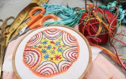 Dropcloth Samplers Colorburst - Ring Toss - Embroidery Kit