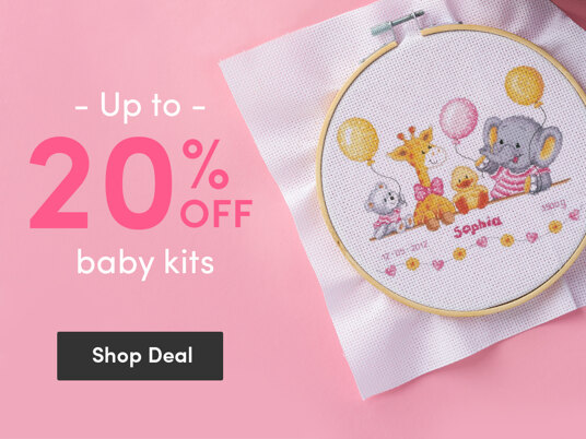 Up to 20 percent off baby cross stitch & embroidery kits!
