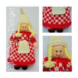 Chequered Christmas Elf Doll - Toy Knitting Pattern
