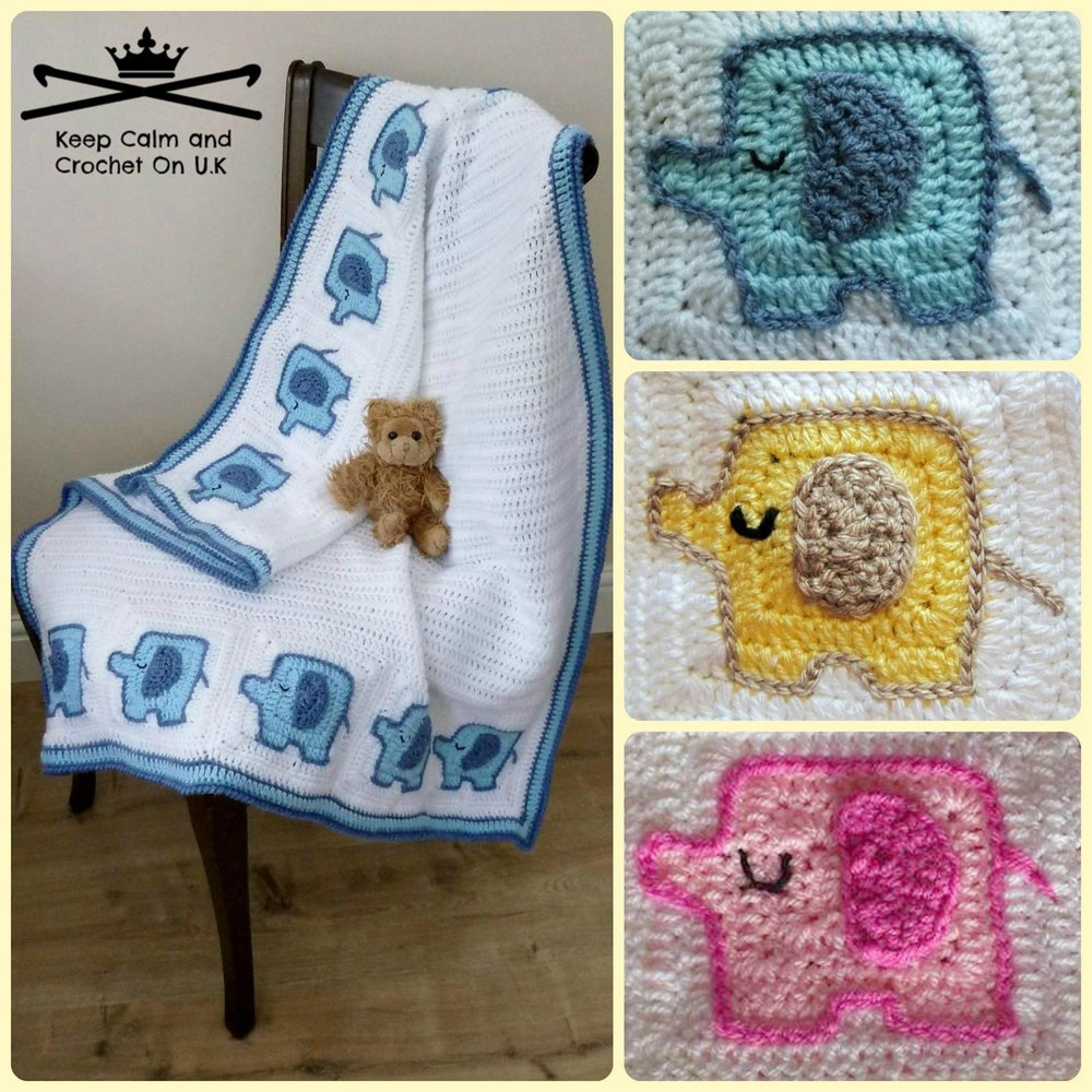 Elephant Blanket Knitting Pattern Free : Elephants On Parade Baby Blanket Crochet pattern by Keep Calm and Croche...