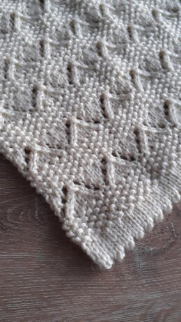 Moss Stitch and Lace Blanket