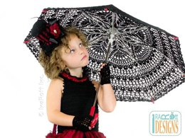 Victorian Goth, Steampunk Style Lace Parasol, Crochet Pattern in PDF