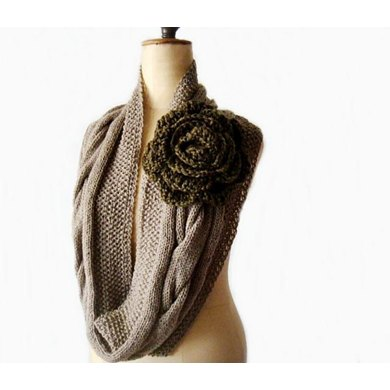 Mocca Retro Romantic Cabled Cowl and Flower
