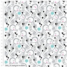 Craft Cotton Company Sweet Little Seahorse - On White