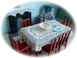 1:24th scale lace tablecloth and table mats