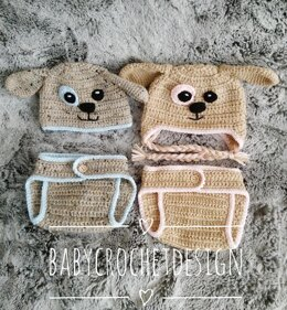 Puppy Baby Diaper / Nappy cover and hat set
