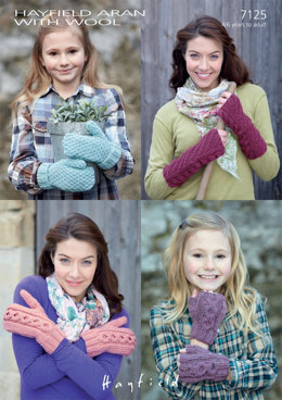 Wrist Warmers and Mittens in Hayfield Aran with Wool 100g - 7125 - Downloadable PDF