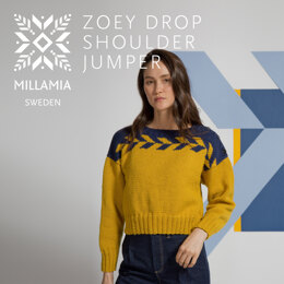""""""" Zoey Drop Shoulder """" -  Jumper Knitting Pattern For Women in MillaMia Naturally Soft Aran by MillaMia"""